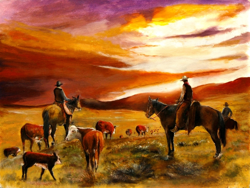 Cattle Drive Open Range Sunset by Patrick Rahming